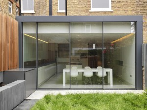 A modern rear extension using aluminium pressings to cover steel structure