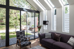 frameless glass eaves window to house extension
