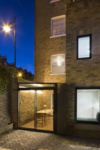 Side infill glass extension to Grade II listed house