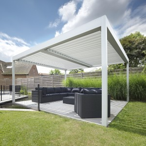 A free-standing Umbris structure protecting a external seating area