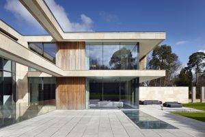 luxury new build home with minimal glass facade