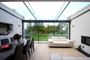 Structural glass roof with solar control glass