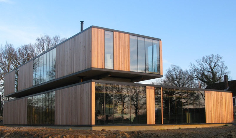 This Kingswood project in Kent on has access to electric power sources therefore they used heated glass to heat the home