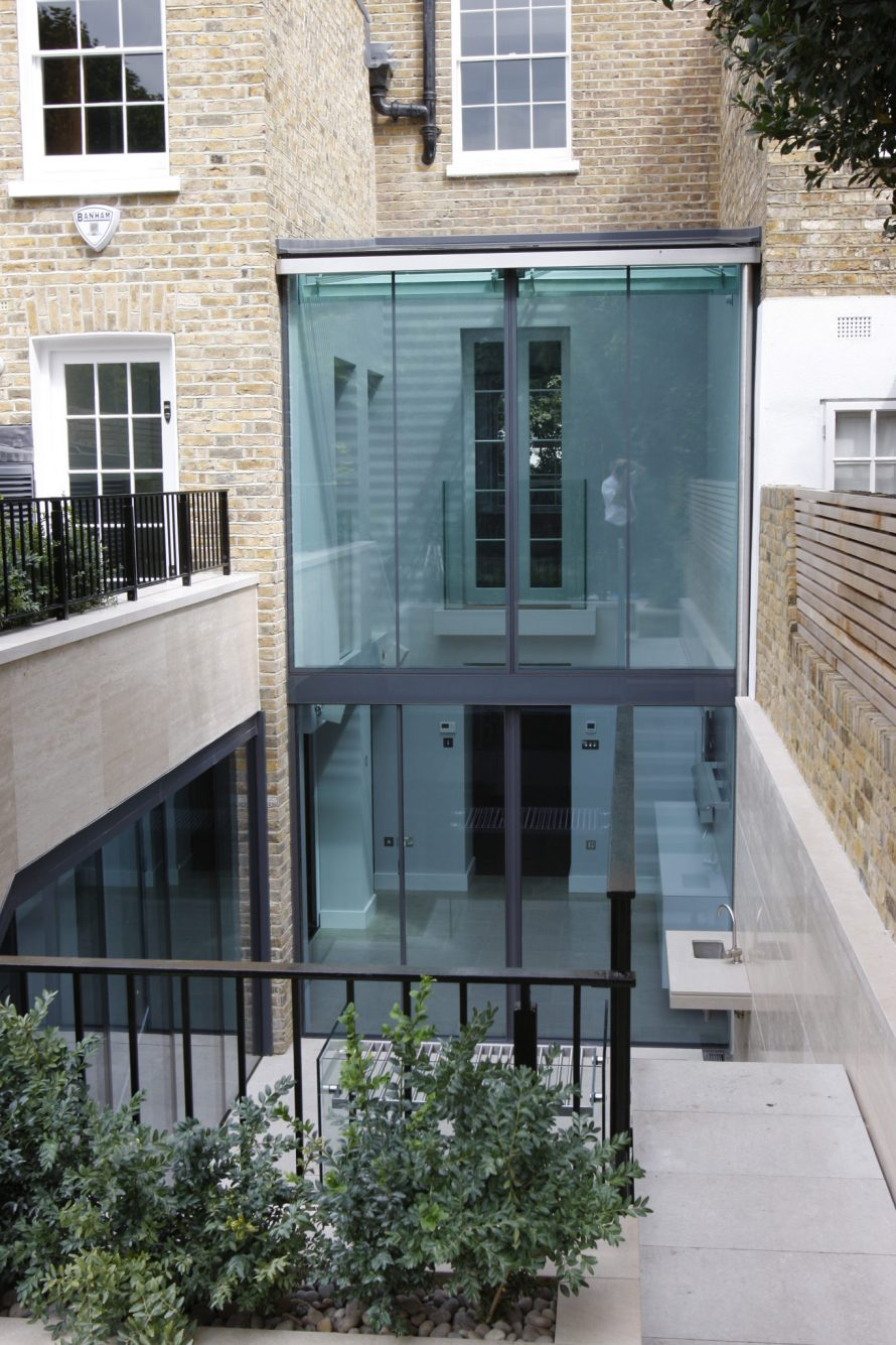 Paulton Square uses heated glass in a contemporary glass extension