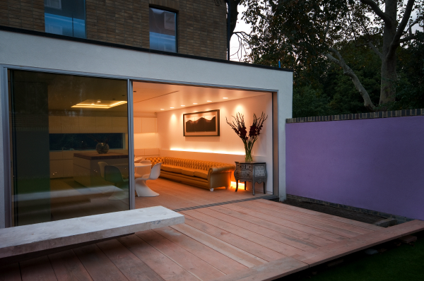 Glass sliding doors on IQ's Russel Garden Mews Project.