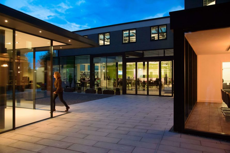 The IQ glass showroom courtyard