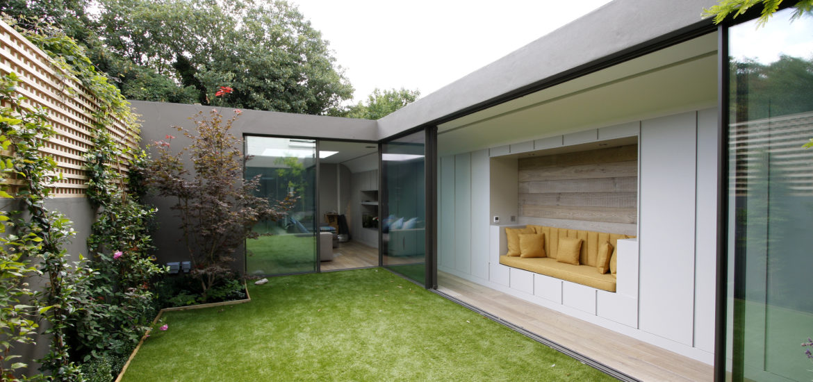 Garden Room House with Sliding Glass Doors