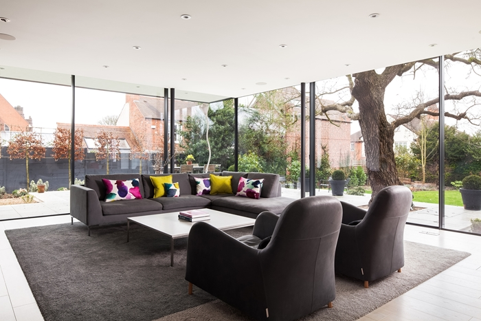 Internal view of the rear glass extension at RIBA Award Winning Number One Westhill