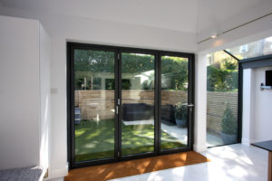 three pane bi folding door to rear extension