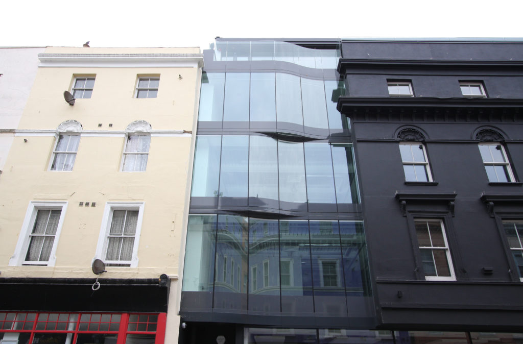 glass facade on tontine street
