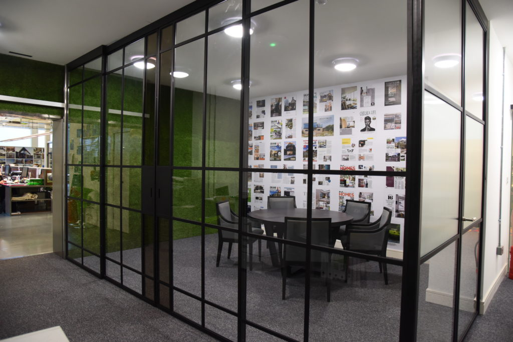 steel screens around meeting rooom