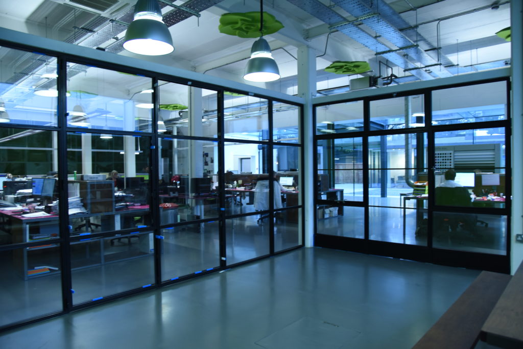 steel screens to create meeting room