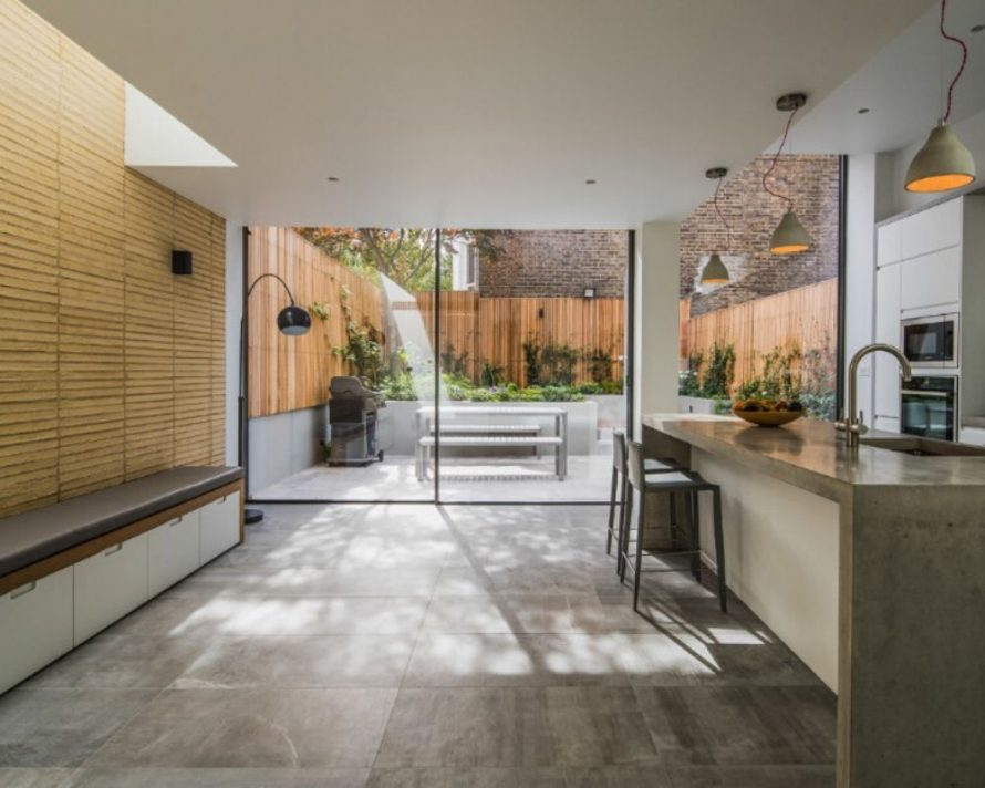 minimal windows to the rear of a contemporary kitchen