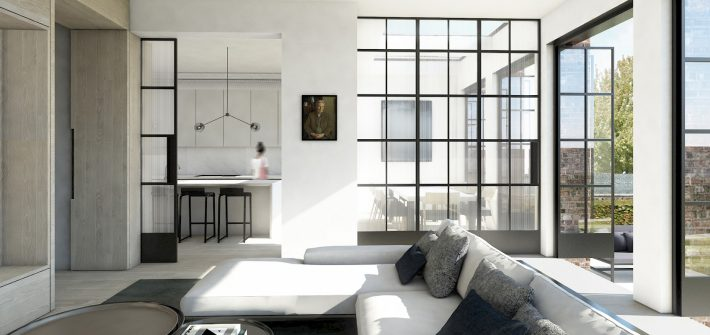 Contemporary living room with industrial look steel room partitions