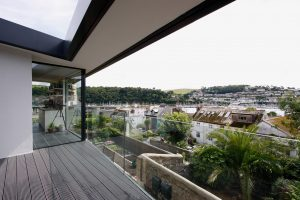 Frameless glass balustrade overlooking dartmouth town