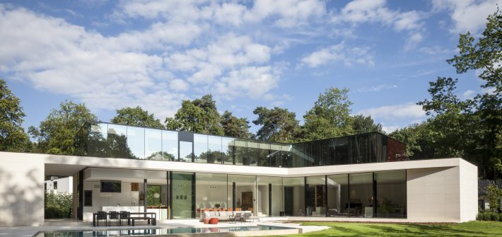 modern villa with glass walls