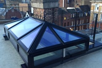 Black silicone framed sliding lantern rooflight