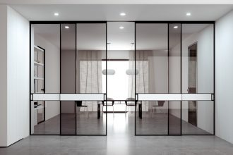 Slim sliding glass doors internal modern home