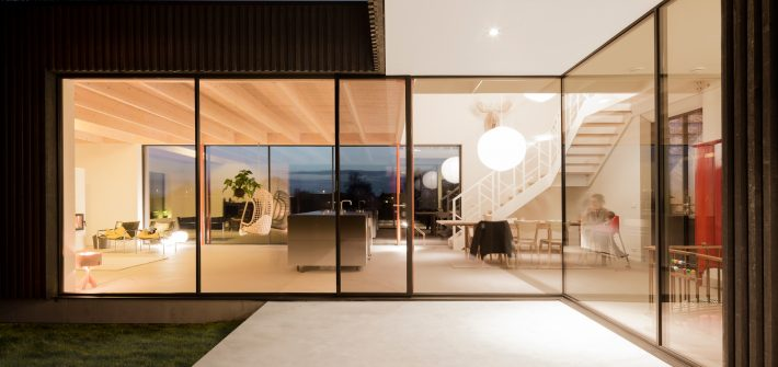oversized steel framed glazing with a modern and minimal framing